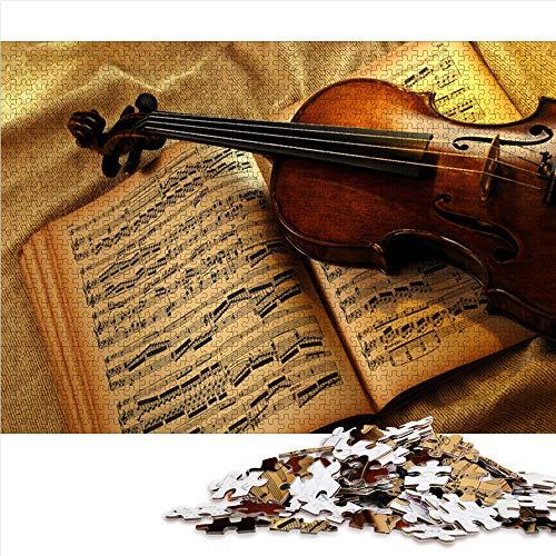 Visionpz Puzzle para Adultos Rompecabezas de 1000 Piezas violín Conjunto de Rompecabezas Familiar Music Rompecabezas Juegos educativos para Adultos y niños para aliviar el estrés. (mini38x26cm)