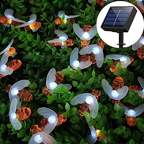 Cadena Solar de Luces de la Abeja, 6.5m 30 LED Exterior Guirnalda Luces Impermeable Luces LED Decorativas, Guirnaldas Luminosas de Jardín para Exterior,Interior, Casas, Boda, Fiesta de Navidad