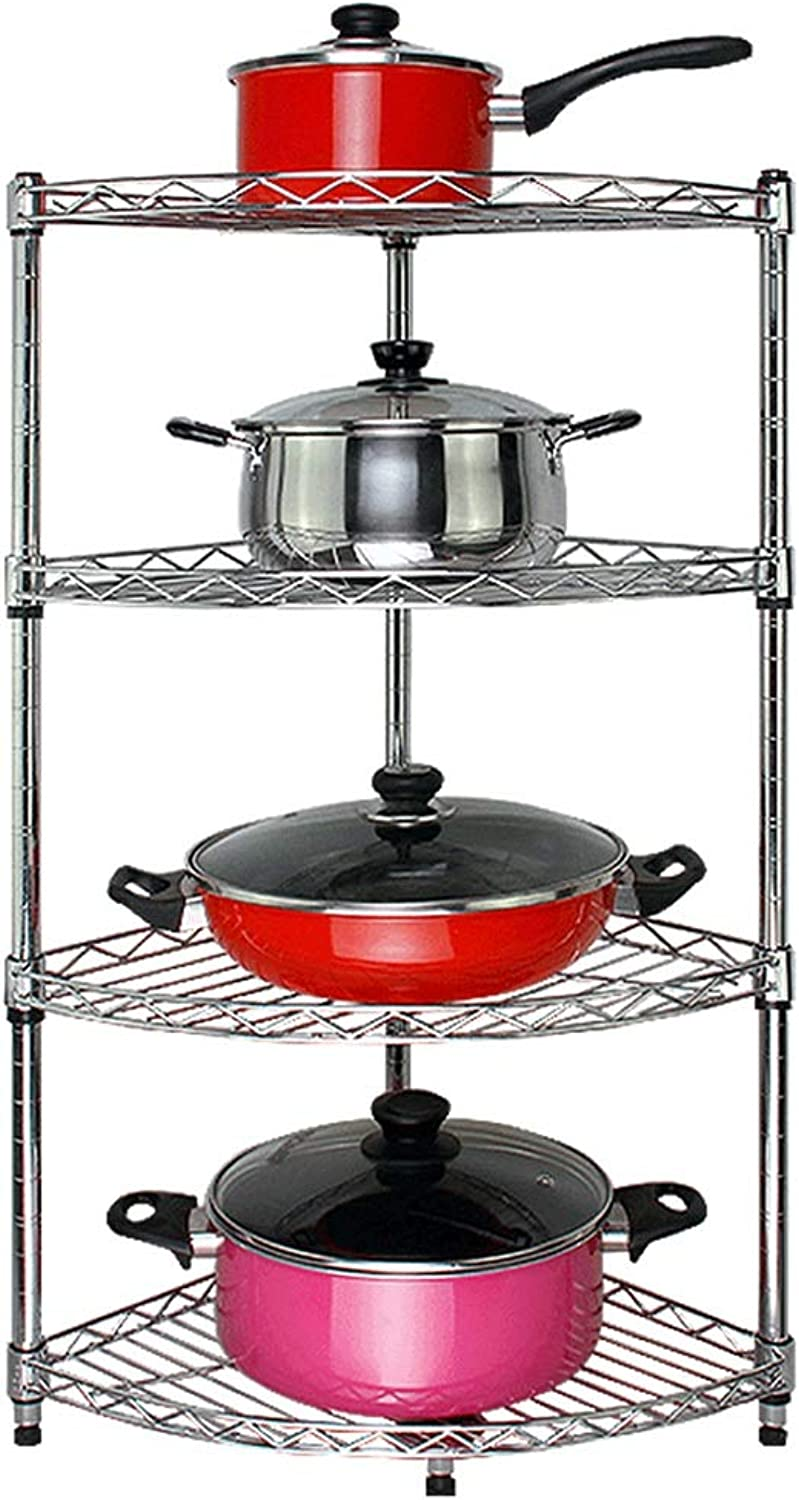 YANZHEN Kitchen Shelf Wire Shelving Storage Pot Rack Floor-Standing Multi-Layer The Corner Stainless Steel, Can Bear 150KG, 6 Size (color   Silver, Size   30x30x80cm)