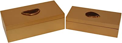 Cheung's 4749-2 Set of 2 Rectangular Square Box with Agate Stone, Gold, 2 Piece