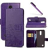 COTDINFOR LG K4 2017 Funda trébol Cierre Magnético Billetera con Tapa para Tarjetas de Cárcasa Elegante Retro Suave PU Cuero Caso Protectora Case para LG K4 2017 Clover Purple SD