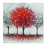 MXJSUA Kits de Taladro Redondo Completo con Pintura de Diamante 5D para Manualidades pegadas para decoración de la Pared del hogar árbol Rojo 30x30cm