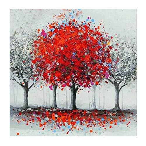 MXJSUA 5D Diamant Malerei Voll Runde Bohrer Kits Für Erwachsene Angeklebte Kunsthandwerk für Hauptwanddekor Roten Baum 30x30 cm