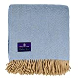 Highland Tweed Überwurf, Fischgrätenmuster, 100 prozent reine Schurwolle, Pekonisches Blau