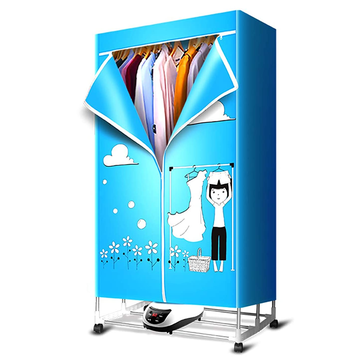 DDSS Clothes dryer Clothes Dryer - Baby Wardrobe Dryer Household Silent Stainless Steel Clothes Dryer Foldable, Fast Dry Negative Ion Load Capacity Up to 30KG, Remote Control /-/ (Color : A)