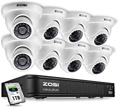 ZOSI 8-Channel 720P HD-TVI Home Surveillance Camera System,1080N CCTV DVR Recorder (1TB Hard Disk Built-in ) and (8) 1.0MP 1280TVL Outdoor/Indoor Security Cameras with Night Vision LEDs