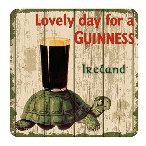 Nostalgischer Guinness-Untersetzer mit Schildkröte, Pint und Text