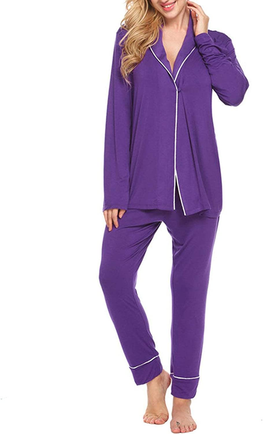 Be fearless Womens Pajamas Long Sleeve Solid Stretch Sleepwear Set Two Pieces Pajamas Sets