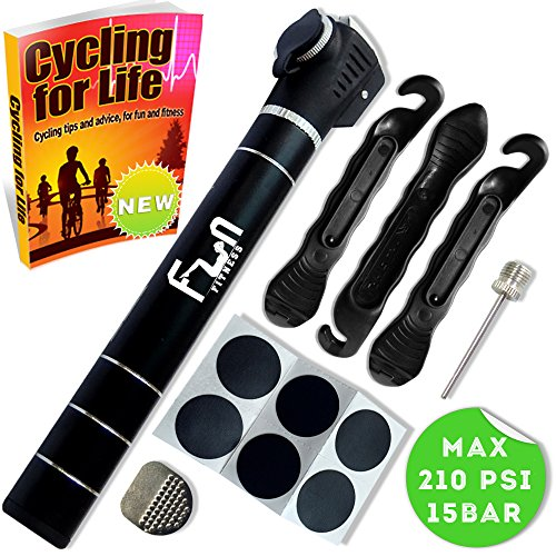 Mini Bike Pump (BLACK) with Tyre Repair Kit & Glueless Puncture Patch...