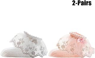 Calcetín De Bebé Calcetín De Malla Infantil Calcetín De Algodón Respirable De La Perla del Arco Decorativo del Cordón