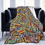 Manta de forro polar ultrasuave para adultos, composición funky e hippie con elementos abstractos étnicos folklóricos artísticos, suave y cómoda manta de sofá