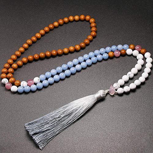 YANGYANG 108 Collares Naturales de sándalo Real de 8 mm con Cuentas de Piedra, Collares con borlas para Mujeres, por defecto