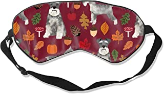 Schnauzer Dog Dogs And Autumn Dog Ruby Red Silk Sleep Mask Comfortable Blindfold Eye mask Adjustable for Men, Women or Kids