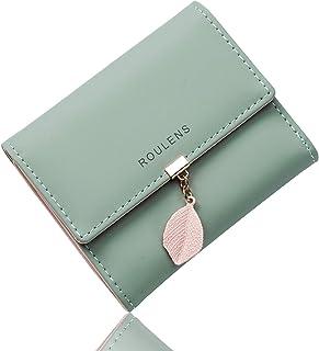 Portafoglio in pelle PU ROULENS per borsa con RFID lunga da donna con ciondolo foglia con cerniera, Verde