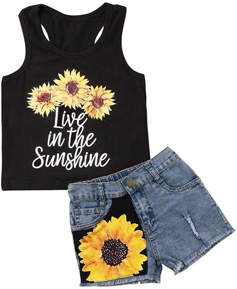 Toddler Kids Girl Outfits Baby Sunflower Sleeveless Vest Letter Tank Tops+Denim Shorts Summer Fashion 2Pcs Clothes Sets