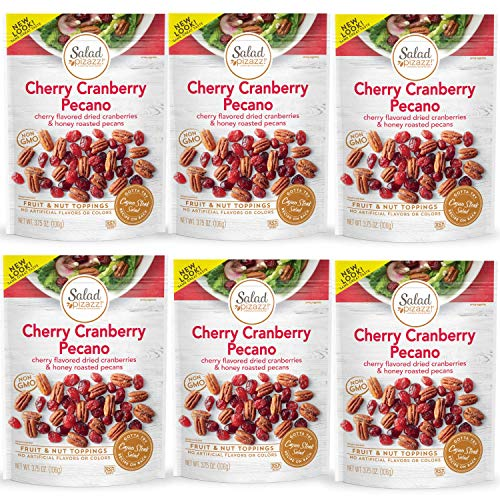 Salad Pizazz!   Dried Cherry Flavored Cranberries & Honey Roasted Pecans   Salad Topper, 3.75 Ounce (Pack of 6)