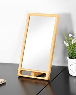 TinyTimes Wooden Makeup Mirror, Table Top Mirror with Stand, Vanity Makeup Standing Mirror, Cosmetic Mirror, Front and Back Available, Table Top Decor, Mirror Sets (Natural)