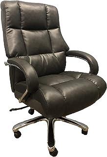 Comfort Grey 高大加长款 500LBS 高脚椅 – 粘合皮革,重型旋转和倾斜,镀铬臂带超厚衬垫,高度调节 – 可承重达 500 磅