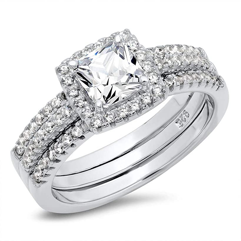 Metal Factory 925 Sterling Silver Cushion Cubic Zirconia CZ 2Pc Halo Wedding Engagement Ring Insert Set