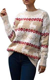 HebeTop Ugly Christmas Sweater,Patterned Tree Knitting Pullover,Knit Tops for Women,Loose Sweatshirt