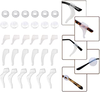 KSACLE 15 Pairs Eyeglasses Retainers Silicone Glasses Temple Holders Anti-slip Protectors Comfort Eyewear Spectacle Stay Put Glasses Stoppers Ear Grip Hooks (Clear)
