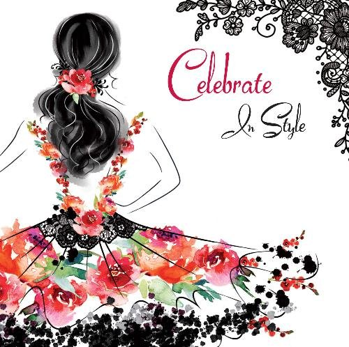 Le Chic Vier In Stijl Jurk Ontwerp Moderne Vrouwelijke Open Gelukkige Verjaardagskaart