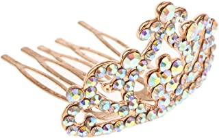 Flameer Girls Princess Mini Tiara Crown With Comb Headwear Wedding Party Hair Accessory - Rose gold, as described