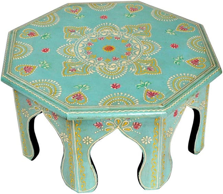 Lalhaveli Rajasthani Handpained Work Design Vintage Round Wooden Puja Chowki Table 12 X 12 X 6 Inches