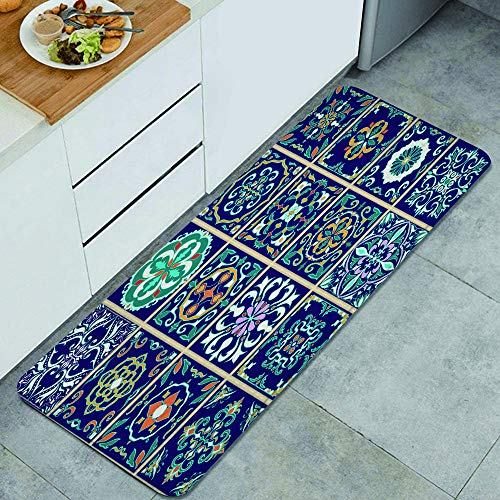 Ultra-Soft Kitchen Rug,Set of Portuguese tiles, Azulejo, Talavera, Moroccan ornaments,Washable Non-Slip Super Absorbent Floor Mat for Kitchen Bathroom Laundry 47.2'x 17.7'