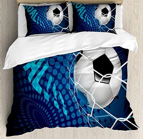 Ambesonne Soccer Duvet Cover Set, Goal Football Flying into Net...