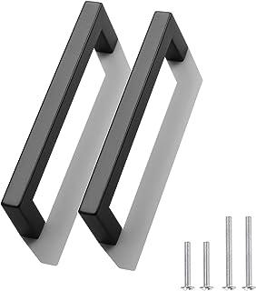 Probrico 30 Pack 5 inch (128mm) Hole Centers Square Corner Kitchen Cabinet Door Handles and Knobs Black Drawer Pulls Bathr...