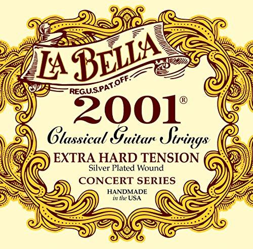 La Bella 653827 Corde per Chitarra Classica Professional Studio, 2001 Muta Professionale, Extra Hard