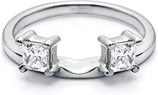 Diamond 3 Stone Princess Cut Ring Wrap in 14K Gold GH SI2 I1(0.5Ct) Size 3 To 15 in 1/4 Size Interval
