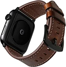 Vemsoul Compatible Apple Watch Band 42mm 44mm 38mm 40mm, Top Grain Leather Bands Sweatproof Vintage wriststrap Bracelet for iWatch Series 4 44mm Series 3/2/1 42mm