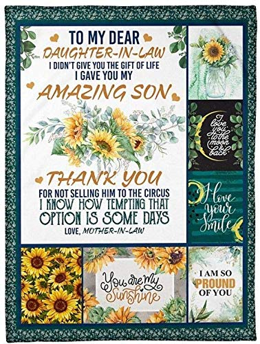 Personalized Daughter in Law Sherpa Fleece Blanket Gifts for Daughter in Law Gifts from Mother in Law Beauty Sunflower Gifts for Mother Thanks You Mom Blanket Gifts for Birthday Thanksgiving Wedding