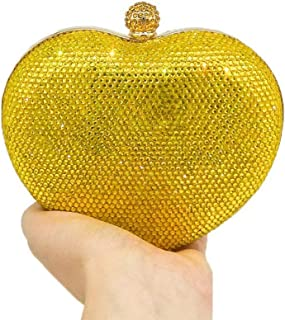 MDSQ Ms. Clutch Creative Fashion Heart-shaped Diamond Evening Bag Chain Shoulder Bag Girl Wedding Party Gift 15 * 6 * 14cm Fashion personality (Color : Yellow)