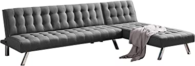 "Convertible Sofa Bed, 100"" Sectional Couch with Chaise Lounger, Linen Fabric Sofa Bed Couch with Metal Leg, 4-Seat Solid"
