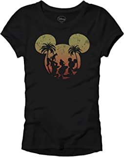 Disney Mickey Mouse Sunset Silhouette Disneyland World Tee Funny Humor Women's Juniors Slim Fit Graphic T-Shirt Apparel