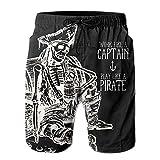 Esqueleto para Hombre Pirata con Cerveza Divertido Verano Transpirable Secado Rápido Bañador Shorts de Playa Shorts de Playa Talla M