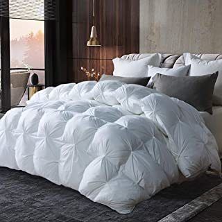 AIKOFUL Luxurious Goose Down Comforter King Size Duvet Insert Pinch Pleat Design,1200 Thread Count 100% Cotton Shell Down Proof with Tabs, 750+ Fill Power, Grey Piping,White Solid