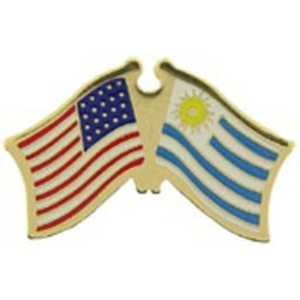 EagleEmblems P09814 PIN-USA/Uruguay (Cross Flags) (1.125'')