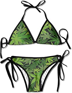Kash NY Weed Leaf Camo Multi-color Women's Sexy 2 PCS Swimsuit Triangle Bikini Set Beachwear