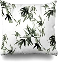 Ahawoso Throw Pillow Cover Eastern Green Floral Rustle Bamboo Wind in Watercolor Ink Brush Free Nature Design Home Decor Pillowcase Square Size 20