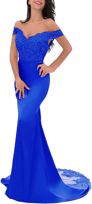 Chenxuanamam OffShoulder Split Evening Gown Lace Mermaid Prom Dress Applique Bridesmaid Dress