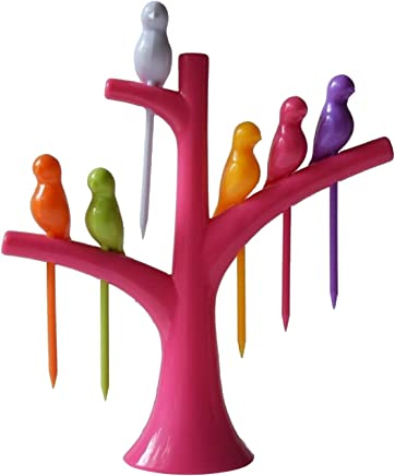 Birdie Plastic Fruit Fork Set with Stand, 6-Pieces, Multicolour