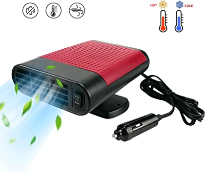 Portable Car Heater, for All Cars, 2 in 1 Car Heater Auto Electronic Heater 12V 150W, 30S Fast Heating Defrost Defogger Windscreen Fan Car Space Windshield Demister, 3-Outlet Plug in Cig Lighter - Red: image