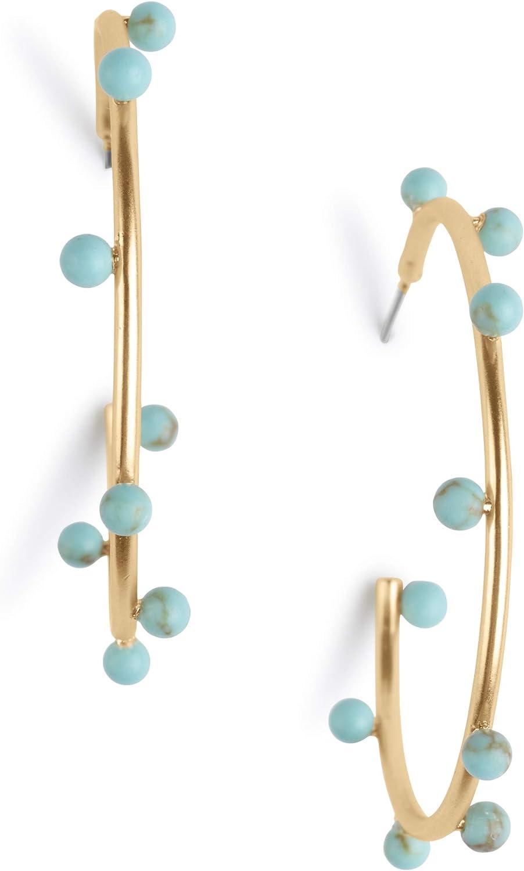 Lucky Brand Modern Turquoise Hoop Earrings, Gold