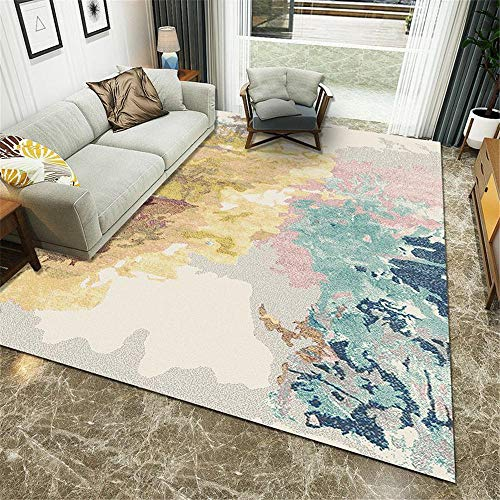 WBDYMX Woonkamer kinderen slaapkamer huis decor grote tapijt Gemakkelijk te verzorgen geel grijze inkt ontwerp multi-size gang tapijt