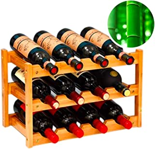 gzshengqi Wine Rack, Bamboo Freestanding Wine Storage Cabinet Shelf, Countertop Wine Racks -12 Bottle Rack