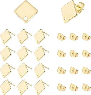 UNICRAFTALE ongeveer 50 stks Gouden Rhombus Stud Oorbellen 304 Rvs Oorstekers met Loop 0.8mm Pin Stud Oorbel Bevindingen v...